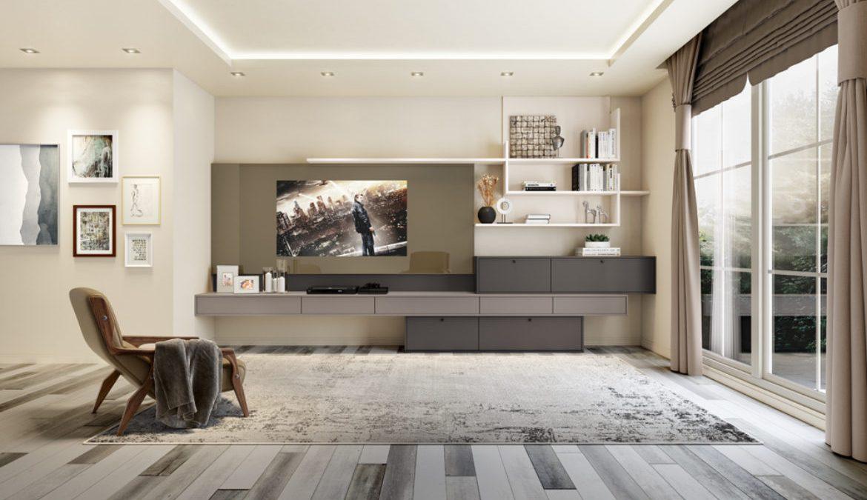 sala de estar com móveis planejados e decoração simples com sóbrias